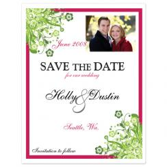Funky Flowers Save the Date Cards