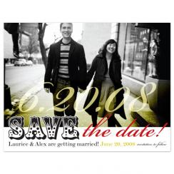 Red & Yellow Simplicity Save the Date Cards