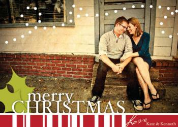 Holly Mint Holiday Photo Cards