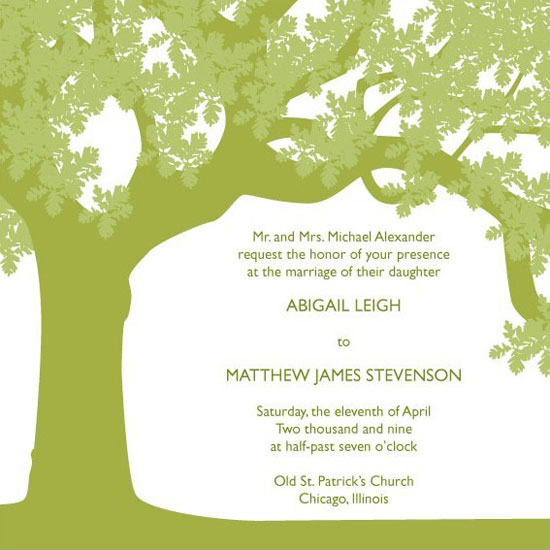 wedding invitations Oak Tree by Posh Peacock