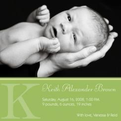 Green Stripes Birth Announcements