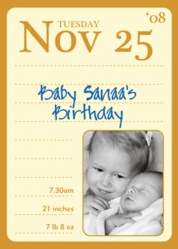 Mark your Calendar Birth Announcements