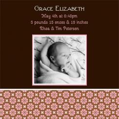 Retro Floral Birth Announcements