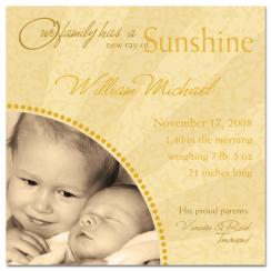 Ray of Sunshine Birth Announcements