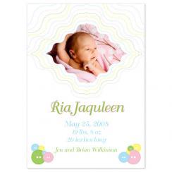 Cute as a Button Birth Announcements