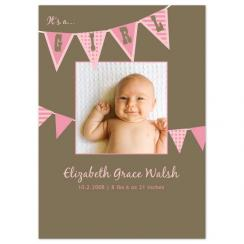 Pink Banners Birth Announcements