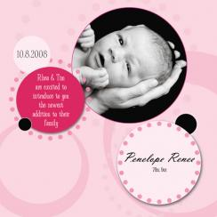 Retro Circles Birth Announcements
