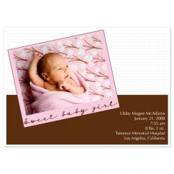 Sweet Baby Girl Birth Announcements