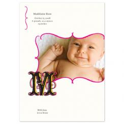 Pop Monogram Birth Announcements