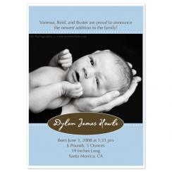 Classic Oval Monogram Birth Announcements