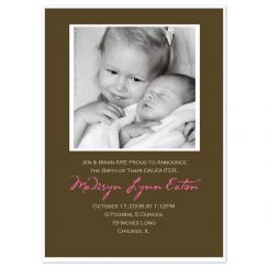 chocolate frame Birth Announcements