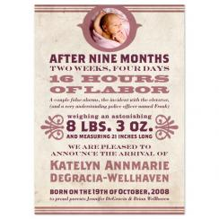 Woodtype Birth Announcements