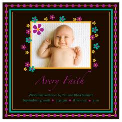 PurpleDots&Flowers Birth Announcements