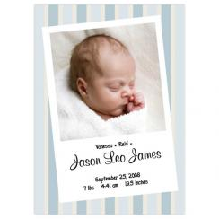 Mommy + Daddy = Baby (stripes) Birth Announcements