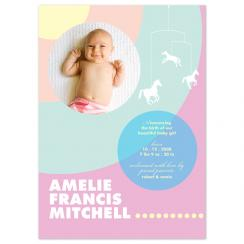 Pastel concentric circles Birth Announcements