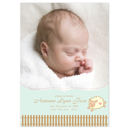 birth announcements - Little Sheep by Mandy Gordon