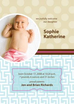 Retro Baby Birth Announcements