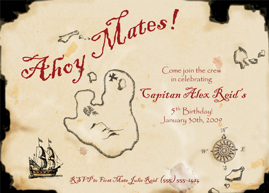 images about treasure/scavager hunt on   pirate, Birthday invitations