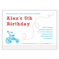 Bicycles in the Park Birthday Party Invitations