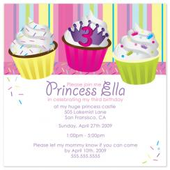 Cupcakes & A Princess Birthday Party Invitations