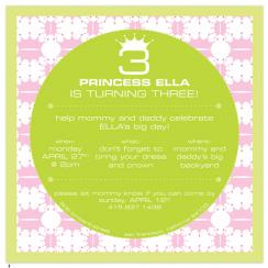 Princess and the Pea Birthday Party Invitations