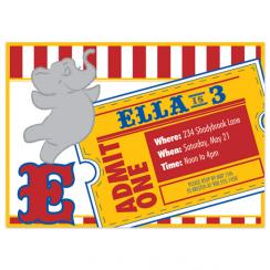 Circus Ticket Birthday Party Invitations