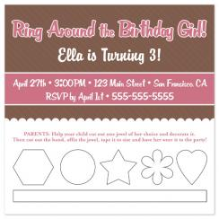 Ring Around the Birthday Girl Birthday Party Invitations