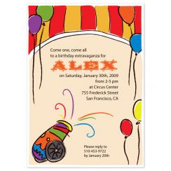 Circus Party Birthday Party Invitations