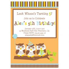 whooo's turning 5? Birthday Party Invitations