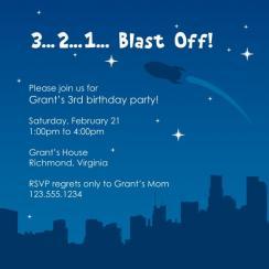 Blast Off! Birthday Party Invitations