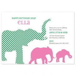 3 Elephants Birthday Party Invitations