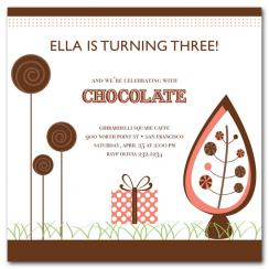 Chocolate Forest Birthday Party Invitations