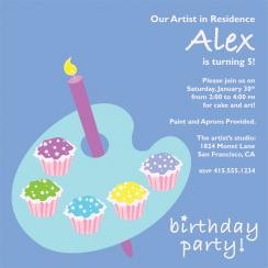 Painting with Cupcakes Birthday Party Invitations