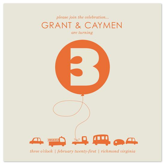 birthday party invitations - Orange Balloon by corah