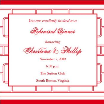 red asian pattern Wedding Stationery