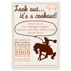 lookout... its a cookout Wedding Stationery