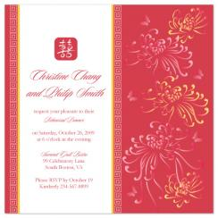 Red Chrysanthemum Wedding Stationery