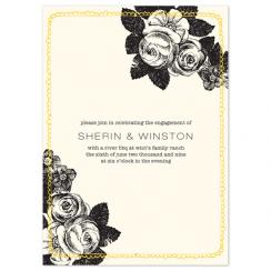 ink and floral Wedding Stationery