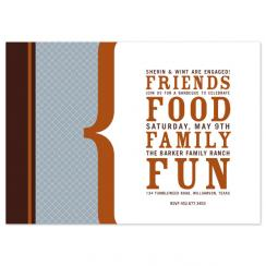 friends, food, family, fun Wedding Stationery