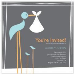 Momma Stork Baby Shower Invitations