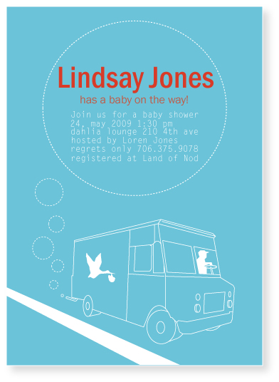 baby shower invitations - conveyance by Marabou Design