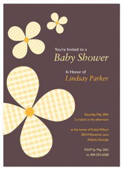 Gingham Flowers Baby Shower Invitations