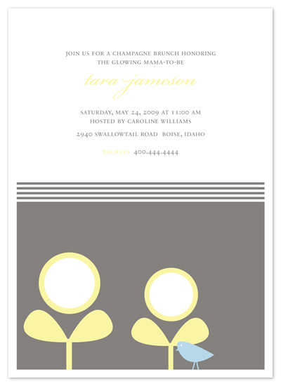 baby shower invitations - Spring sprouts and the birdie by Emily Ranneby