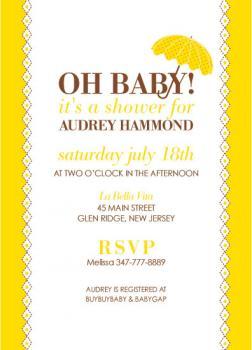 Polka Dot Parasol Baby Shower Invitations