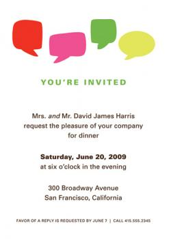 Dinner Chat in Color Party Invitations