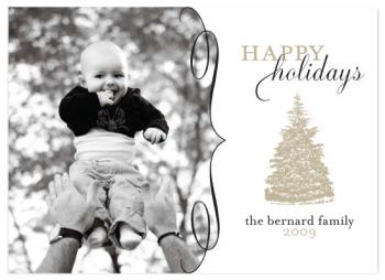 Gold Tree Holiday Photo Cards
