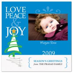 Joy Christmas Tree Holiday Photo Cards