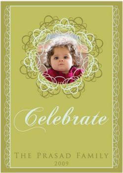 Swirl Decor Holiday Photo Cards