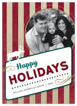 Retro Holiday Greetings Holiday Photo Cards
