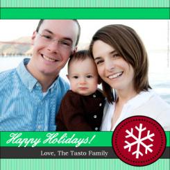 Green Candy Cane Holiday Photo Cards